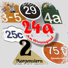 Hausnummern aus Keramik, Dibond, Artelith, Kunststein